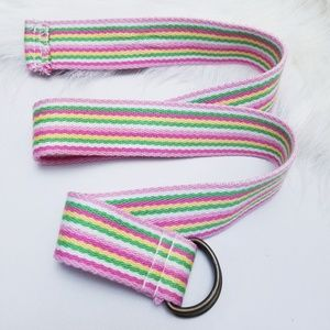 Accessories - Pink Striped Canvas Bet with Double Brass Buckles